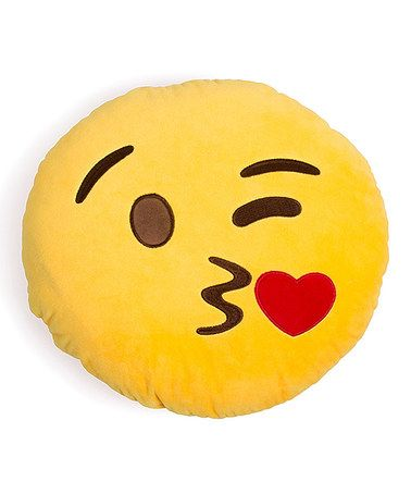 $10.99 marked down from $15! Kissy Face Emoji Throw Pillow #kissy #face #kisses #emoji #gift #pillow #sale #zulily #zulilyfinds
