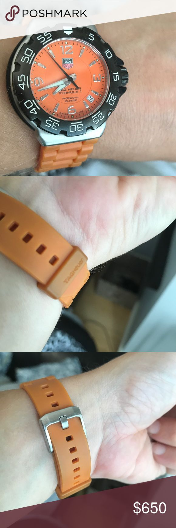 Tag Heuer orange Formula One sport watch Super cool and bright orange Formula One 31mm Tag Heuer.  Just had battery replaced. Some discoloration on band. Doesn't show as much when on wrist. Tag Heuer Accessories Watches