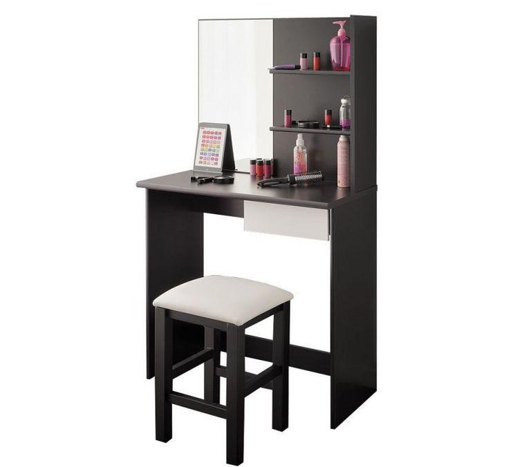 Toaletka biurko czarno-białe z lustrem