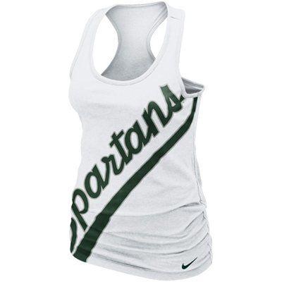 Nike Michigan State Spartans Ladies Slanted Boyfriend Tank Top - White @Yesenia Flores