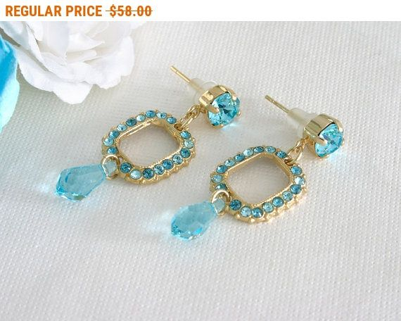 20% OFF - CIJ SALE Mother of the bride earrings Bridal party earrings Blue crystal earrings Blue turquoise earrings blue and gold by AlinYerushalmi from AlinYerushalmi. Find it now at http://ift.tt/2sMJCFq!