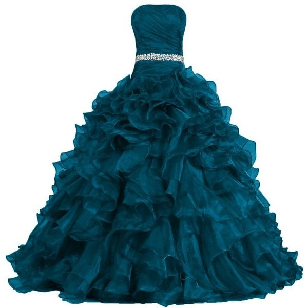 ANTS Women's Pretty Ball Gown Quinceanera Dress Ruffle Prom Dresses ($140) ❤ liked on Polyvore featuring dresses, gowns, blue gown, quinceanera ball gowns, blue dress, blue ball gown and quinceanera gowns