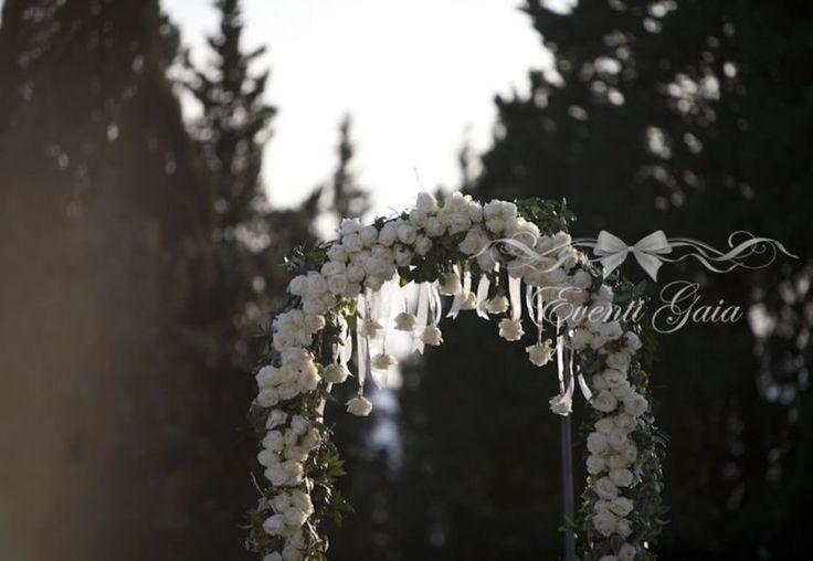 White roses Wedding arch