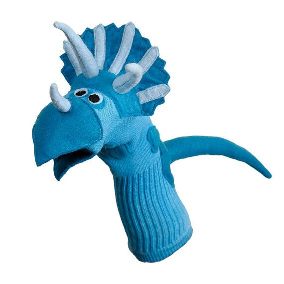 Handmade Dinosaur Sock Puppet Triceratops by electrickzoo on Etsy, $40.00