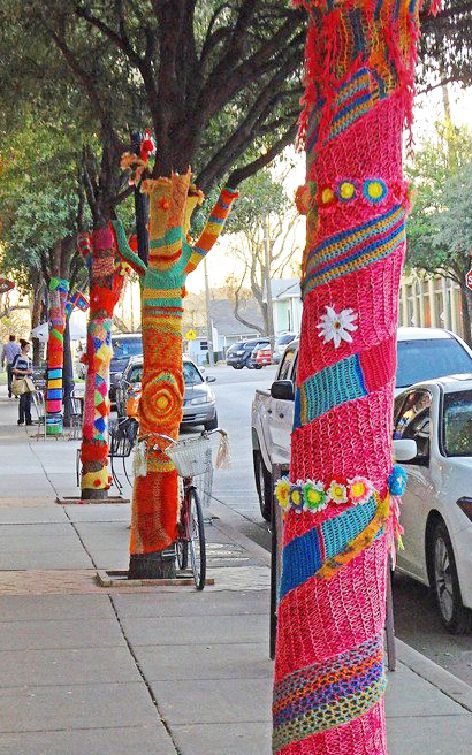 yarn bombs are created with only recycled and collected yarn