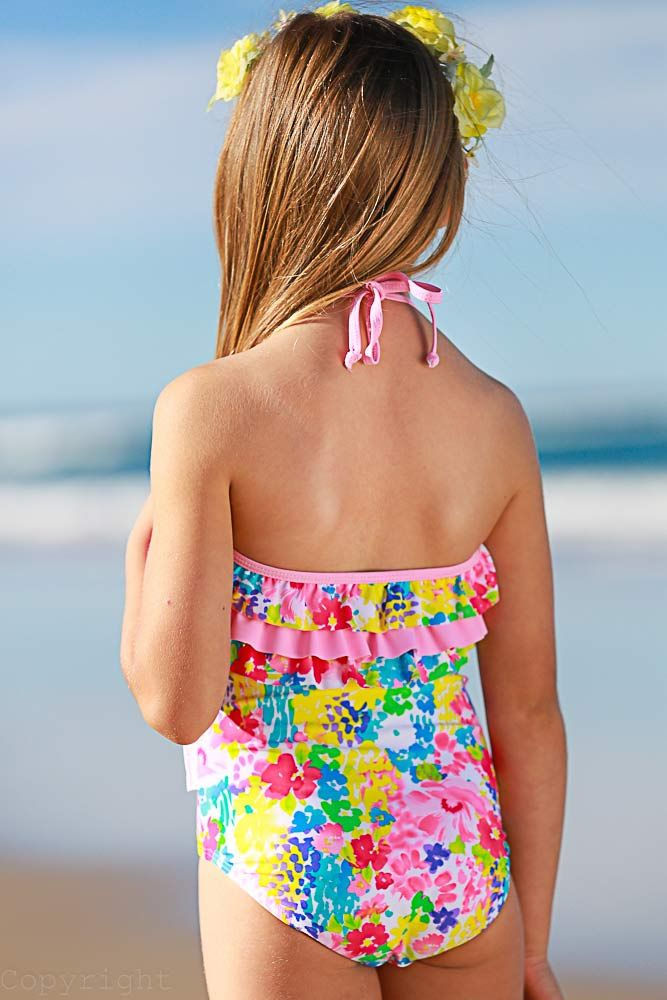 Monet Print One Piece with Ruffles Back View