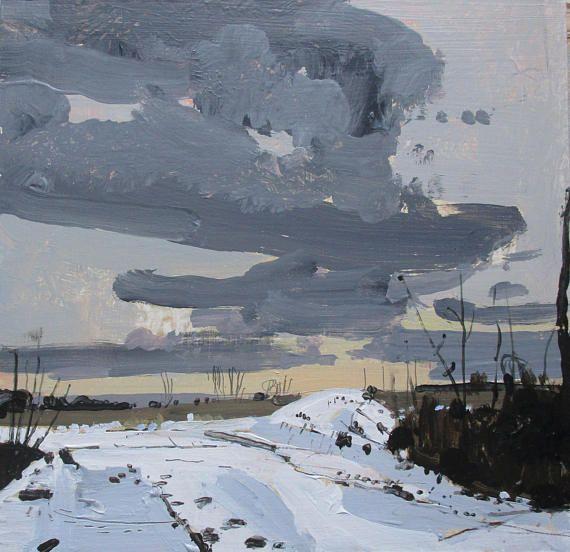 Homebound November Dusk Original Landscape Sunset Painting