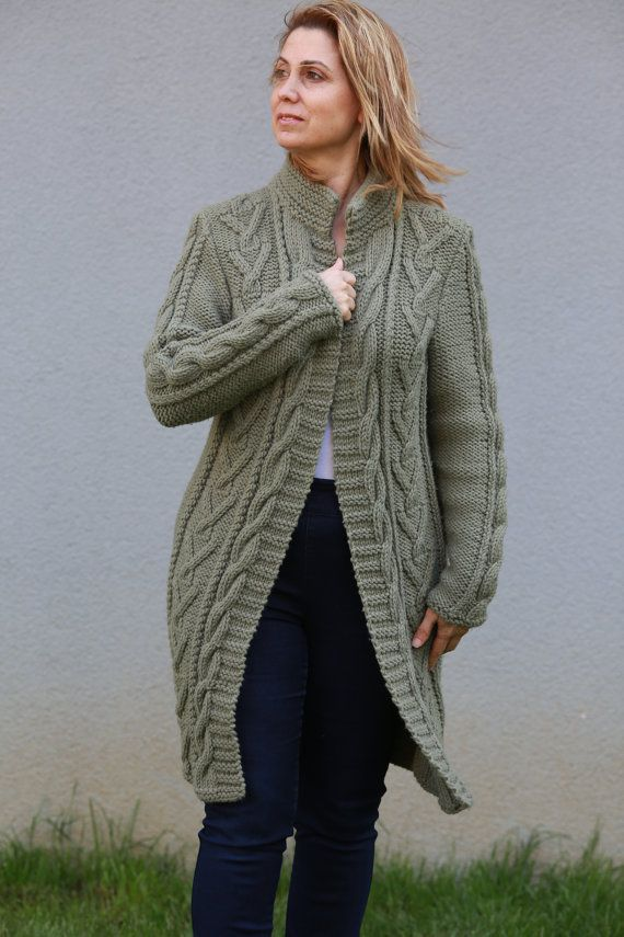 Hand knitted Army Green Boyfriend Coat Cardigan, Cable Knitted Long Overcoat for Winter and Spring days Made to Order Outwear or Outerwear