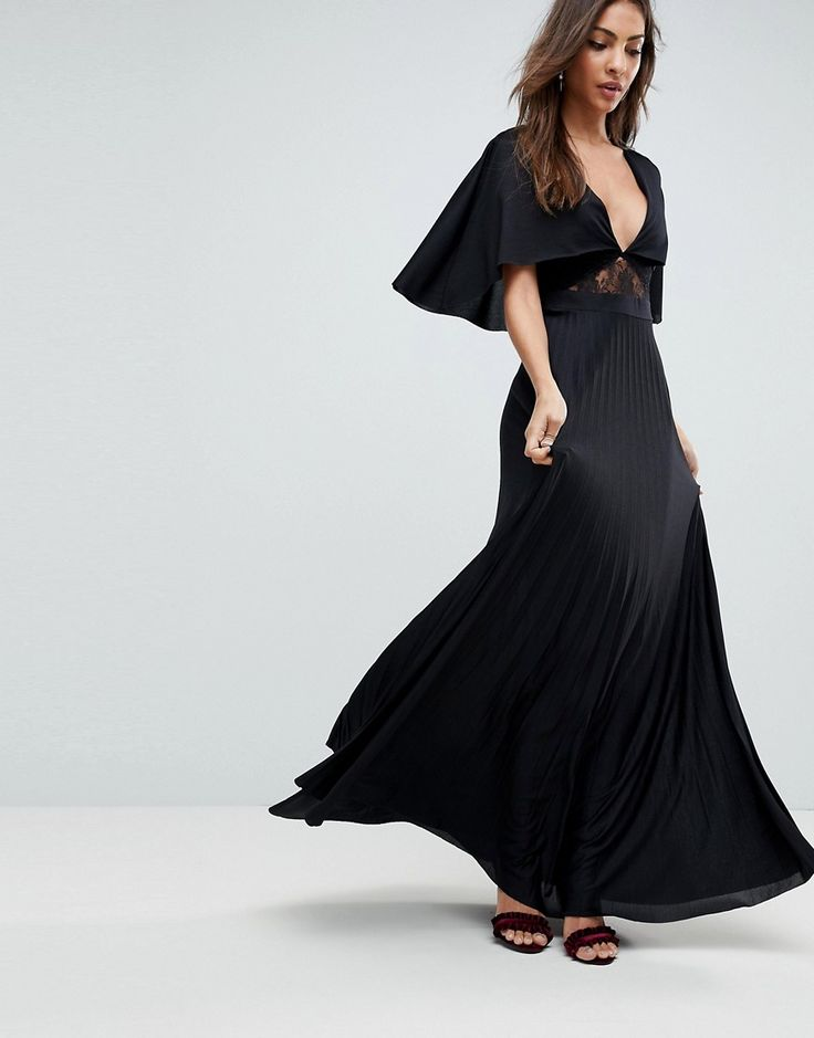ASOS Cape Pleated Lace Insert Maxi Dress - Black