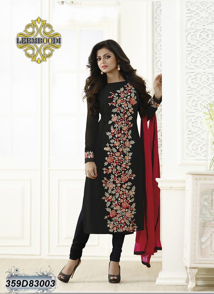 Enriching Black & Red Coloured Semi stitched Salwar Suit
