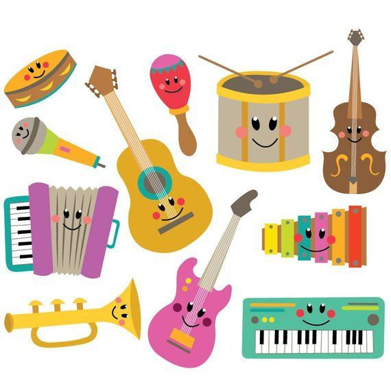 Musical Instruments Clipart Vector Set Instant Download Personal And Commercial Musical Instruments Clipart Music Instruments Kids Musical Instruments