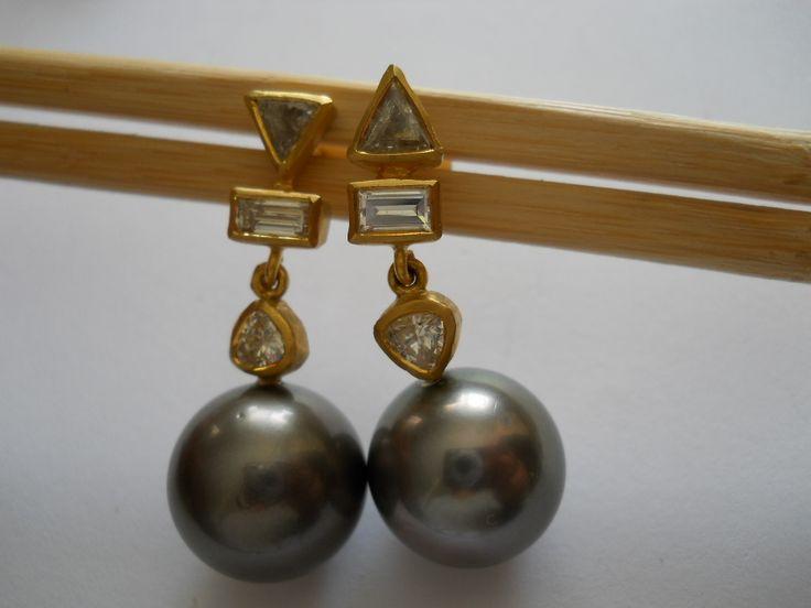Pamela Harari's Tahitian South Sea Pearl & Diamond Earrings in 22K Gold