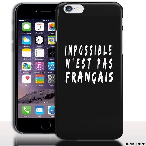 Coque iPhone 6 Plus Impossible n Est Pas Français - Housse rigide. #iPhone6Plus #AllezLesBleus #Proverbe #Coque #Etui
