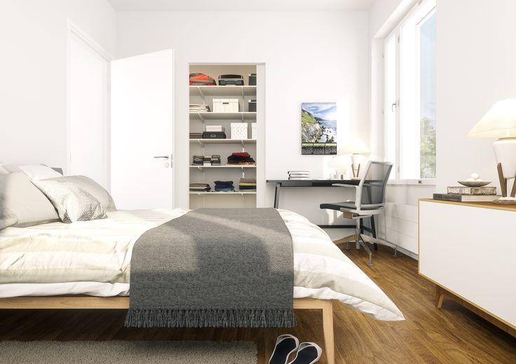 Helsingin Umbran makuuhuone (visualisointi) / Visualization of a bedroom in Helsingin Umbra