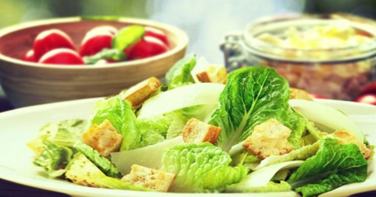 Delicious Caesar Salad Recipe without anchovies and eggs.  learn more at allboutrecipes.com