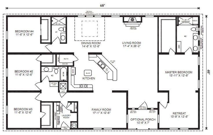 Ranch House Floor Plans 4 Bedroom Love This Simple No Watered Space Plan Add A Wraparo Modular Home Floor Plans Ranch House Floor Plans Basement House Plans