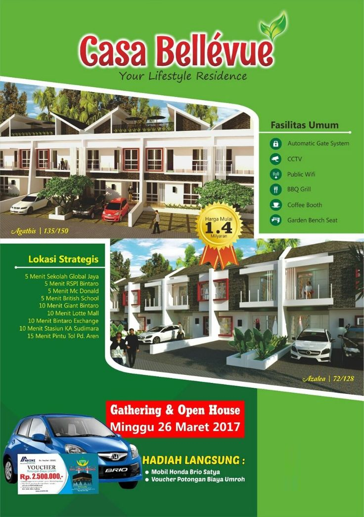 Special Invitation: Gathering & Open House Casa Bellevue Residence Bintaro | Berhadiah MOBIL Honda Brio Satya dll. | Hunian Idamanku | Pulse | LinkedIn ---> Email: hunian.idamanku@gmail.com