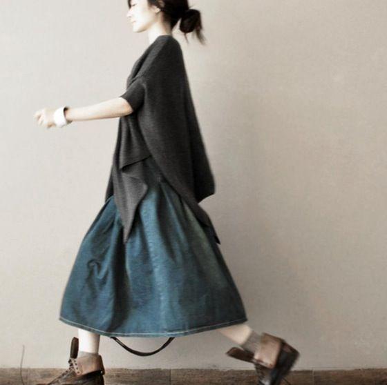Cowboy Skirt Causel Blue A-style Clothes Women's Dress LR480