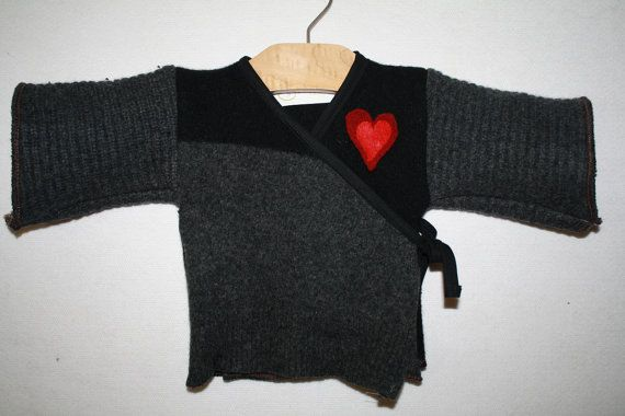 Infant Recycled Wool Kimono with Removable Heart Pin - Size Newborn to 18M. on Etsy, $54.16 CAD