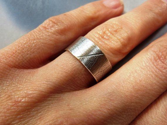 Hoja patrón plata anillo anillo de plata esterlina anillo de