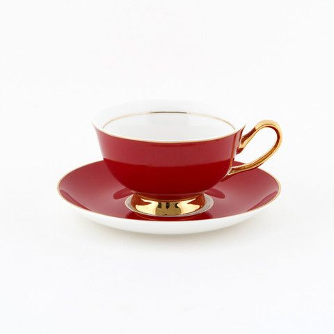 #Red #250mL #Teacup and #Saucer #Set | The #bold, #elegant, #stylish teacup. #Mix'n'match with our other #colours! Get inspired at lyndalt.com