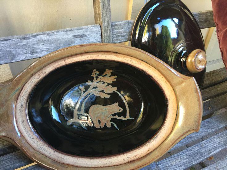 http://richardfisherpottery.com/ Custom Design for Wedding: Large Casserole Black Glaze