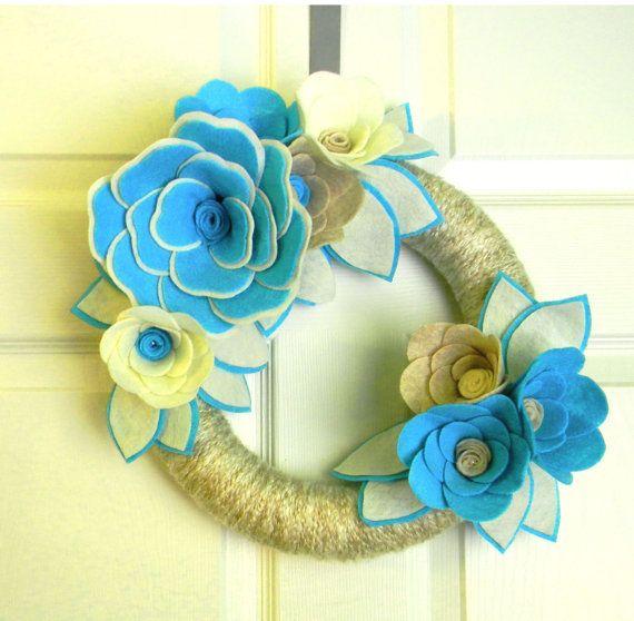 Tiffany Blue and Pearls 12 inch Felt and by EllaBellaMaeDesigns, $38.00