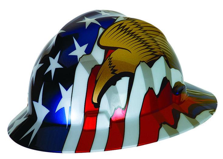 Msa 10071159 full brim hard hat patriot vgard with eagles
