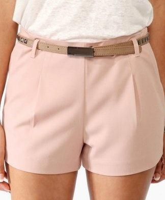Solid Pocket Shorts w/ Studded Belt
