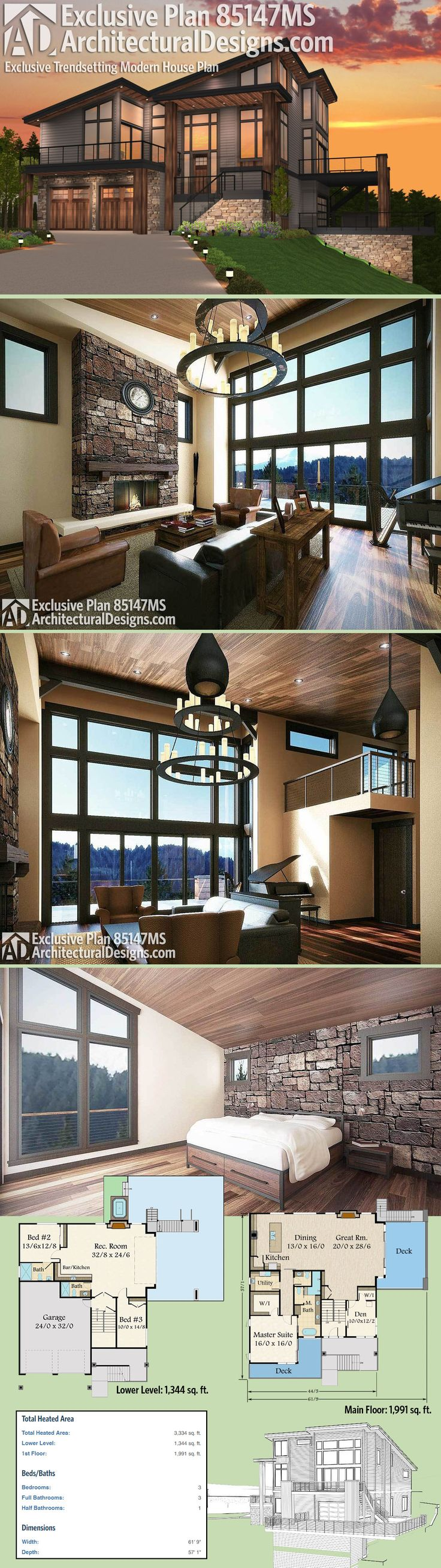 Architectural Designs Exclusive House Plan 85147MS beautifully