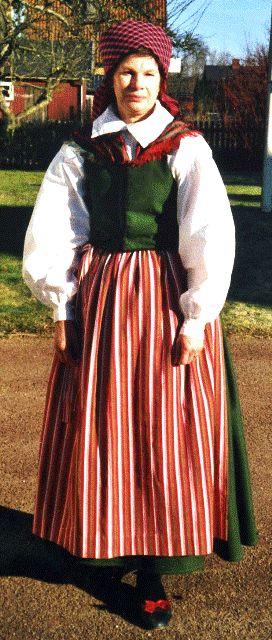 """Luggude. Married woman. Bodice and skirt from early 19th century.  """"Gift kvinna med rutig spånklut och rosengångsförkläde. Schal över axlarna nerstucken i livstycket av ylledamast.  Livstycke och kjol från första delen av 1800-talet."""""""