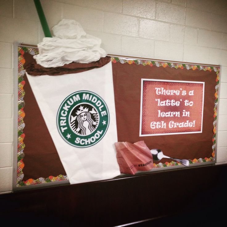 Starbucks themed school bulletin board!  I thought it was a good idea until my crazed hankering for a coffee set in...