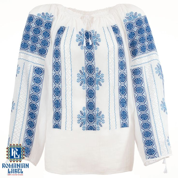 $151.22 A 100% hand made traditional blouse, exclusively tailored out of natural materials, such as white cotton and blue silk embroidery.
