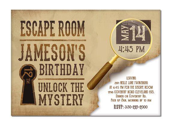 escape room invite boys or girls birthday invitation gold rush printable digital file. Black Bedroom Furniture Sets. Home Design Ideas