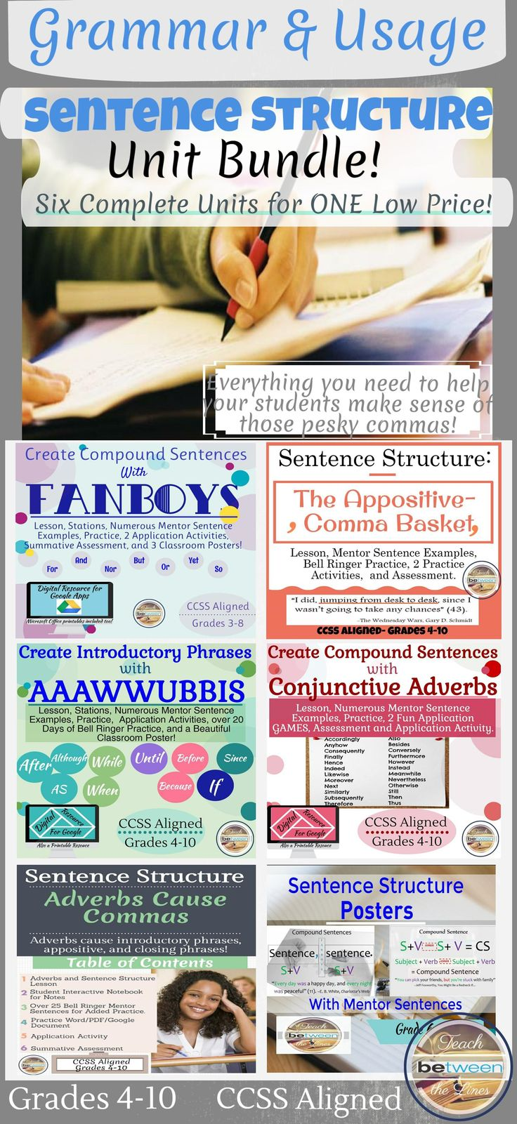 This complete unit bundle includes everything you need to teach sentence structure and comma placement to your students. Each unit will support students in creating: -compound sentences -complex sentences -a variety of introductory phrases to vary sentence beginnings - appositives to vary sentence structure, create interest, create explanations, and a strong writer's voice. teaching grammar, grammar, writing, teaching writing, middle school writing, high school writing, FANBOYS, AAAWWUBBIS,