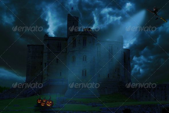 Halloween night with a witch and pumpkins stock image download!