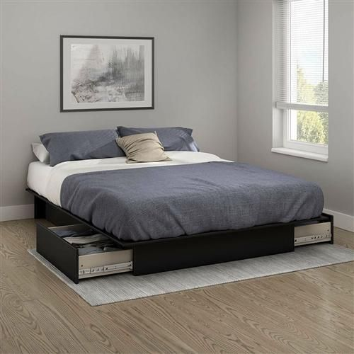 Queen Platform Bed Frame with 2 Storage Drawers in Black Wood Finish