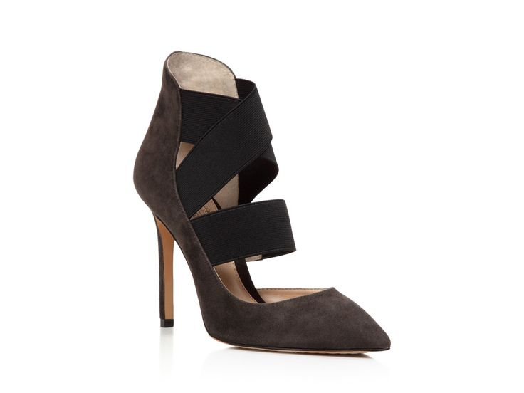 """Vince Camuto Women's Nigel Charcoal Grey Pump 8.5 M. The style name / style number is Nigel / NIGEL-CHARGRY/BLK. Color: Charcoal Grey/ Black. Material: Suede. Measurements: 4"""" heel. Width: B(M)."""
