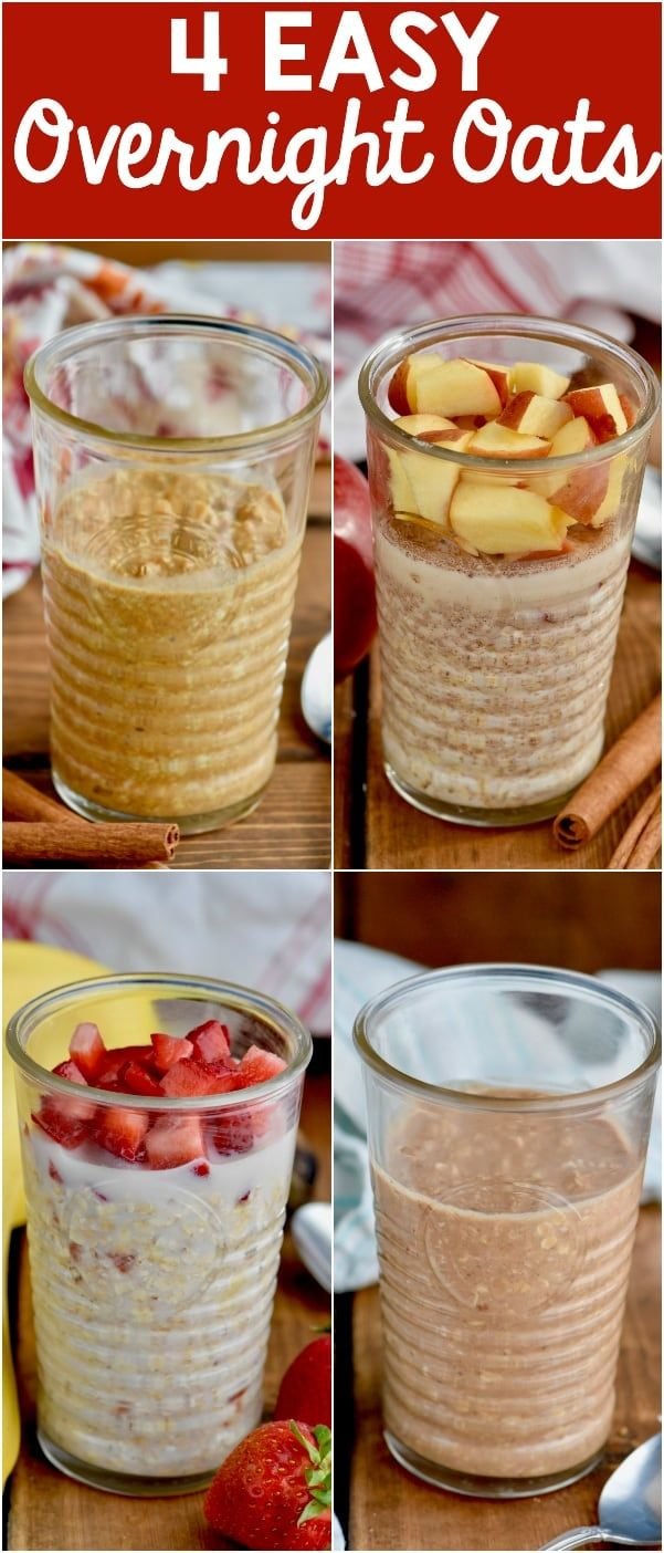 Four Easy Overnight Oat Recipes that are perfect for a busy weekday morning! Grab and go at it's best!!