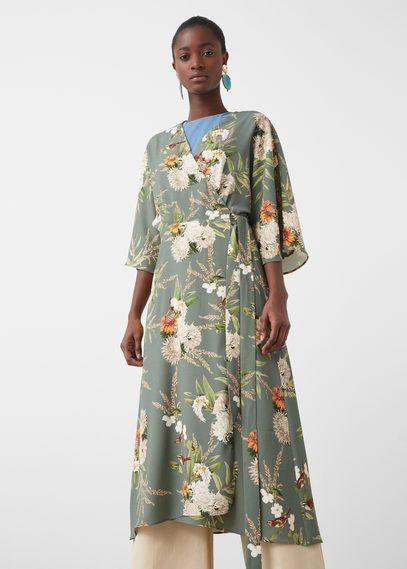 Mango Outlet Floral wrap dress
