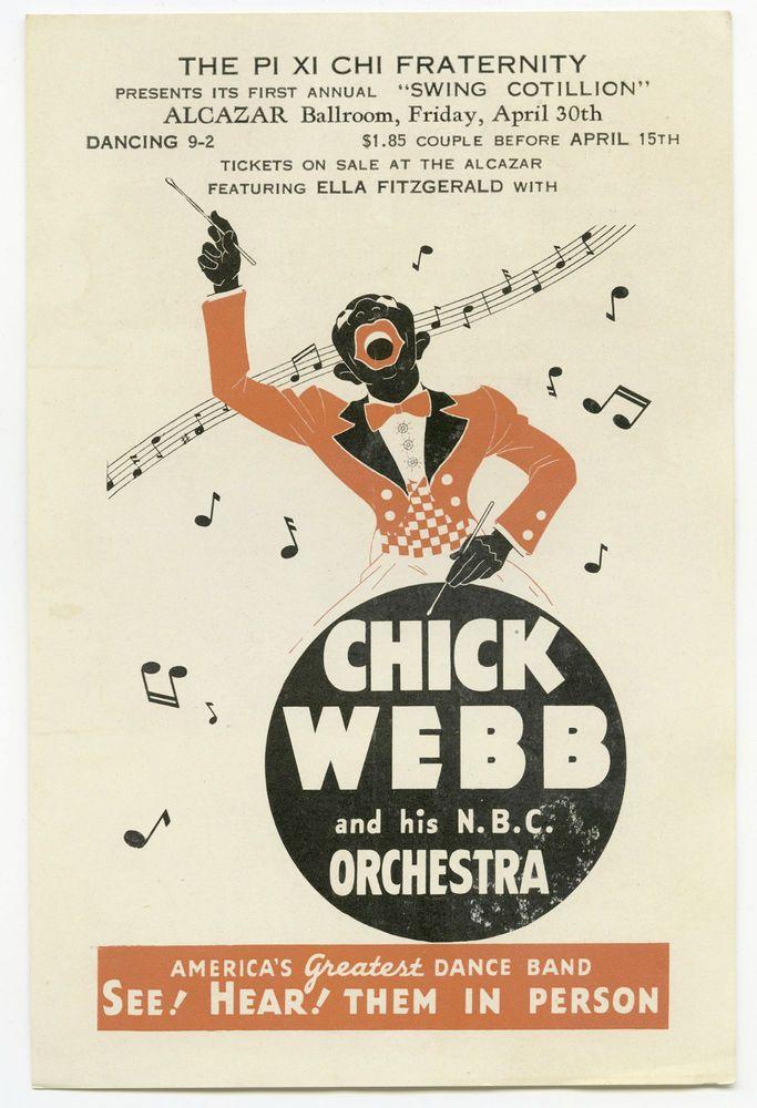 Authentic ELLA FITZGERALD / CHICK WEBB Original 1937 Concert Handbill / Flyer
