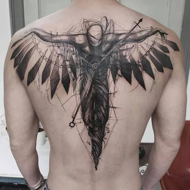 Usually not into wing type tattoos on the back but I might just have to make an exception here