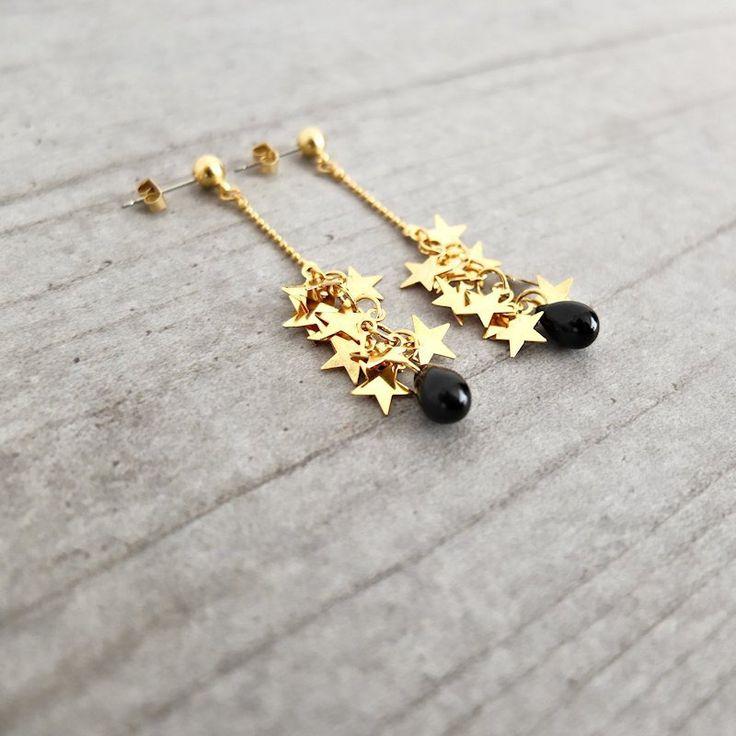Boucles d'oreille ★ Céleste ★ dorées à l'or fin 24k : Boucles d'oreille par my-french-touch