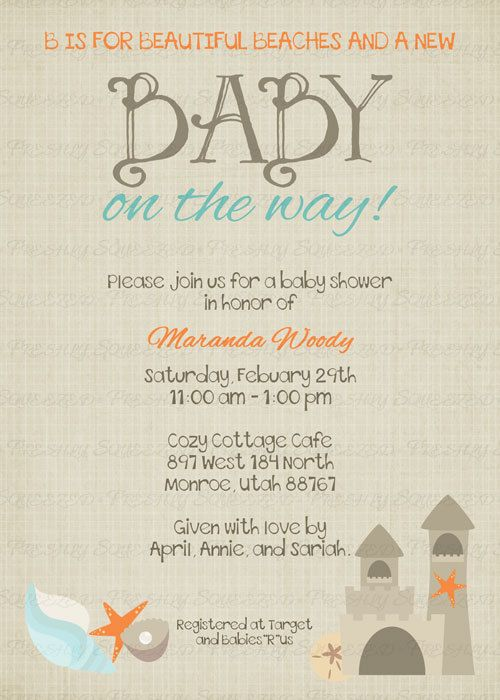 beach baby shower invitation baby shower invitation digital