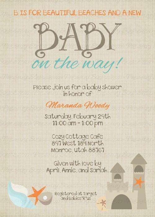 Beach Baby Shower Invitation,  baby shower invitation,  Digital, Printable file