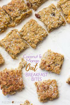 Coconut Mango Oat Breakfast bites. No refined sugar. Great for BLW (baby-led weaning)