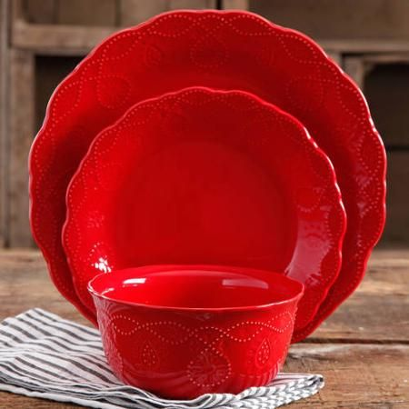 The Pioneer Woman Cowgirl Lace in red 12-Piece Dinnerware Set - Walmart.com