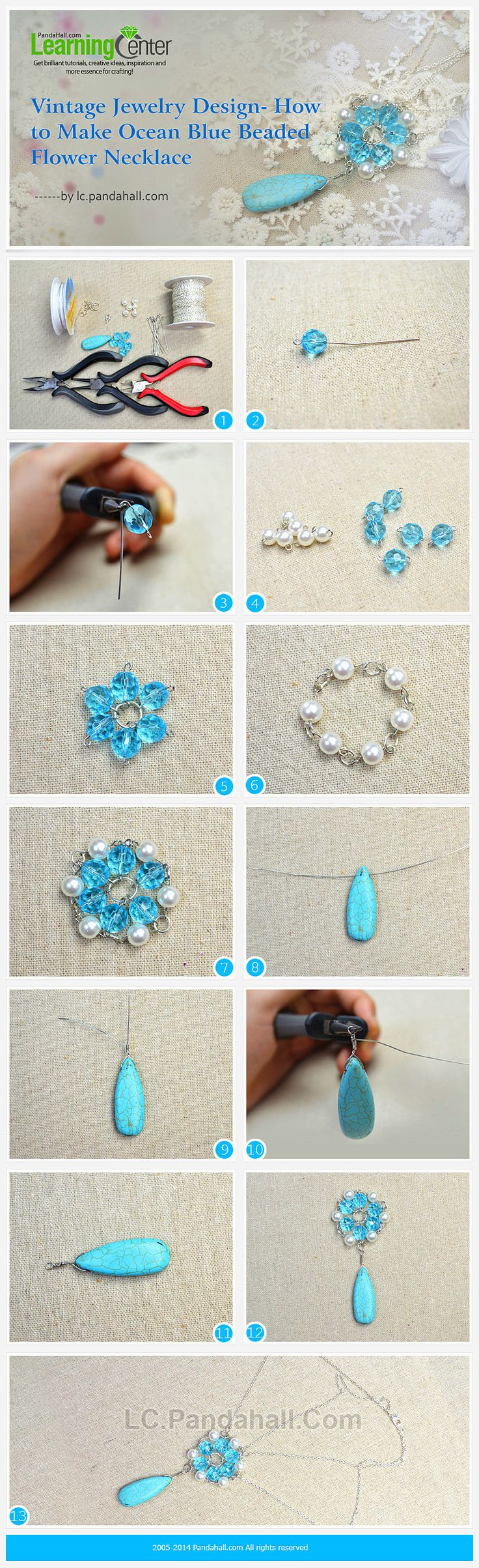 Vintage Jewelry Design- How to Make Ocean Blue Beaded Flower Necklace