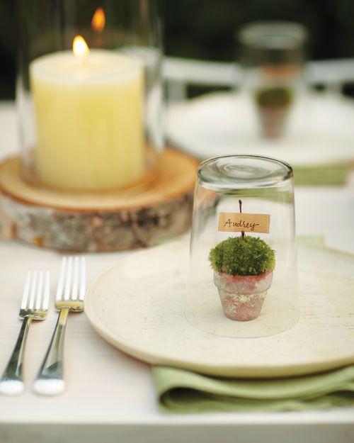 How about these place settings for a garden theme party? Cute with or without the glass over them.