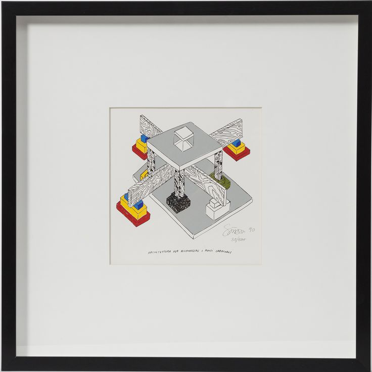 """Architettura per riconoscere i punti cardinali"" by Ettore Sottsass is a lithograph signed and numbered (35/50) in pencil by the author. The total size with frame measures 40 cm in width and 40 cm in height, while the artwork itself measure 21x21 cm."